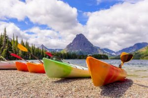 Kayaking is popular activity in the Two Medicine lakes. Seen in the pic is Sinopah mountain.